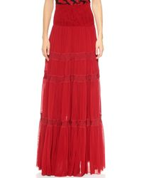 Jean Paul Gaultier Pleated Maxi Skirt - Red - Lyst