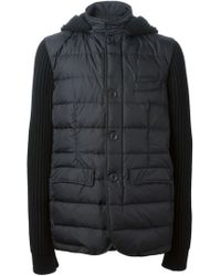 Herno Ribbed Sleeved Padded Coat - Lyst