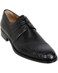 A.testoni Leather Crocodile Derby Shoes - Lyst