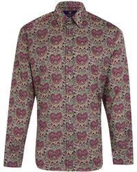 Liberty - Men'S Purple Kitty Grace Print Cotton Shirt - Lyst