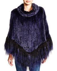 Maximilian Maximilian Knitted Rabbit Poncho With Lamb Hem - Bloomingdale's Exclusive - Blue