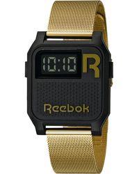 Reebok Women'S Digital Vintage Nerd Gold-Tone Stainless Steel Bracelet Watch 35Mm Rc-Vne-U9-Pbs2-B2 - Black