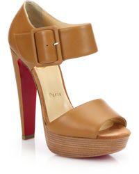 Christian Louboutin | Haute Retenue Leather Platform Sandals | Lyst