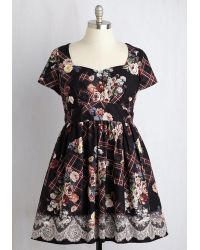 ModCloth | Charm Convention Dress In Floral Plaid | Lyst