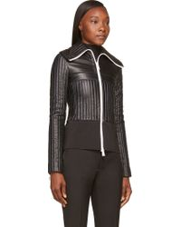 Paco Rabanne Black Leather Quilted Fitted Jacket - Lyst