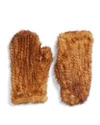 Love Token | Genuine Mink Fur Mittens - Metallic | Lyst