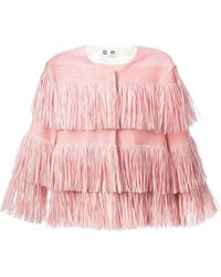 MSGM Collarless Fringed Jacket - Lyst