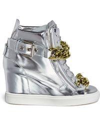Giuseppe Zanotti 'Lorenz' Metallic Leather Wedge Sneakers - Lyst
