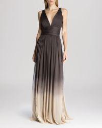 Halston Heritage Gown - Sleeveless V-Neck Ombré - Lyst