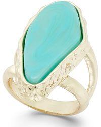 ABS By Allen Schwartz Gold-Tone Turquoise Slice Ring - Lyst
