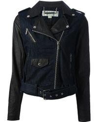 MICHAEL Michael Kors Denim and Faux Leather Biker Jacket - Lyst