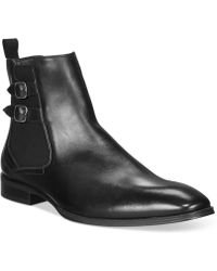 Alfani Rory Double Buckle Chelsea Boots - Black