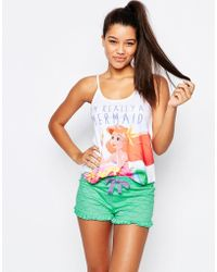 Missimo - Disney Im A Mermaid Pyjama Short Set - Lyst