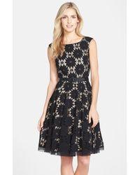 Eliza J Belted Lace Fit & Flare Dress - Lyst