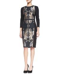 Ted Baker Tasiele 3/4-Sleeve Dress W/ Brocade Front - Lyst