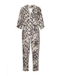 Saloni Kristin Printed Linen V-Neck Jumpsuit multicolor - Lyst
