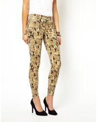 Denim & Supply Ralph Lauren Skinny Jeans In Python Print - Multicolour