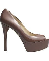B Brian Atwood Peep Toe Pump in Nude Patent - Natural