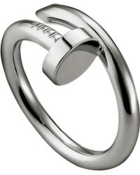 Cartier Juste Un Clou Rhodium-plated White-gold Ring - Lyst
