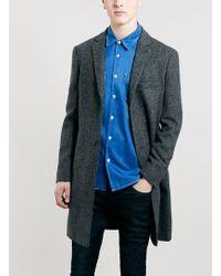 Topman Harris Tweed Blue Coat - Lyst