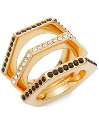 Vita Fede - Triple Crystal Hexagon Ring/rose Goldtone - Lyst