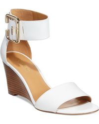 Nine West Narcissus Two-Piece Wedge Sandals white - Lyst