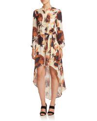 Haute Hippie | Floral Silk Hi-lo Shirtdress | Lyst