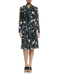 Proenza Schouler Long-sleeve Printed Dress W Pleated Skirt - Lyst