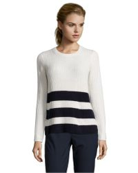 Vince Winter White And Coastal Wool And Cashmere Knit Ribbed Crewneck Sweater - Lyst