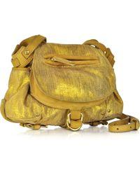 Jérôme Dreyfuss Twee Mini Gold Suede And Leather Shoulder Bag - Lyst
