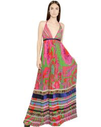 Roberto Cavalli Printed Pleated Silk Georgette Dress - Lyst