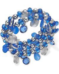 Style & Co. - Silver-tone Blue Bead And Pailette Coil Bracelet - Lyst