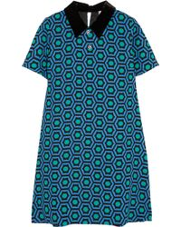 Lulu & Co Velvettrimmed Printed Crepe Mini Dress - Lyst