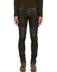 Balmain Black Coated Biker Jeans - Lyst