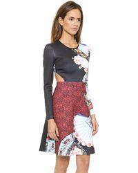 Clover Canyon Fan Foulard Side Cutout Dress - Multi - Lyst