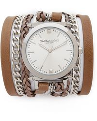 Sara Designs - Leather & Chain Wrap Watch - Taupe/Silver - Lyst