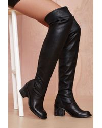 Nasty Gal Damien Knee High Leather Boot - Lyst