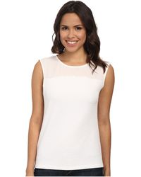 Calvin Klein Short Sleeve Text Knit W/ Crepe De Chine white - Lyst