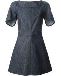 Giamba Cap Sleeve Denim Dress blue - Lyst