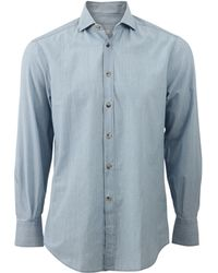 Brunello Cucinelli | Chambray Collar Shirt | Lyst