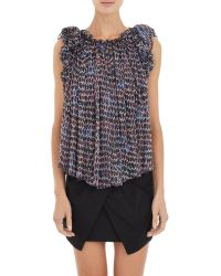 Isabel Marant Pleated Georgette Marcia Blouse blue - Lyst