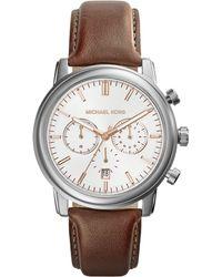 Michael Kors Midsize Tan Leather Pennant Chronograph Watch - Lyst