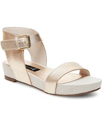 Steven by Steve Madden Ankle Strap Sandals - Kaylaaa Footbed Metallic - Lyst