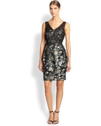 Kay Unger Floral Jacquard Dress - Lyst