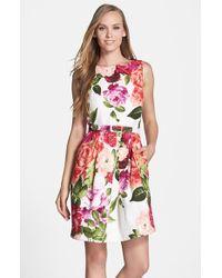 Eliza J Belted Floral Jacquard Tulip Dress - Lyst