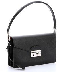 Prada Black Saffiano Convertible Shoulder Bag - Lyst