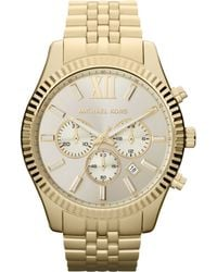 Michael Kors Men'S Chronograph Lexington Gold-Tone Stainless Steel Bracelet Watch 45Mm Mk8281 - Lyst