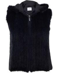 Max & Moi Hooded Mink-Fur Vest - Black
