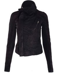 Rick Owens Black Zip Back Leather Jacket - Lyst