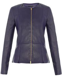 The Row Anasta Leather Jacket - Blue